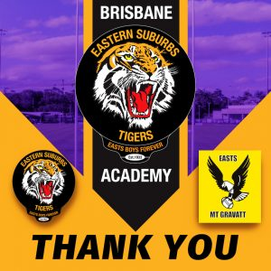 Easts Tigers thank Easts Mt Gravatt for use of their facilities
