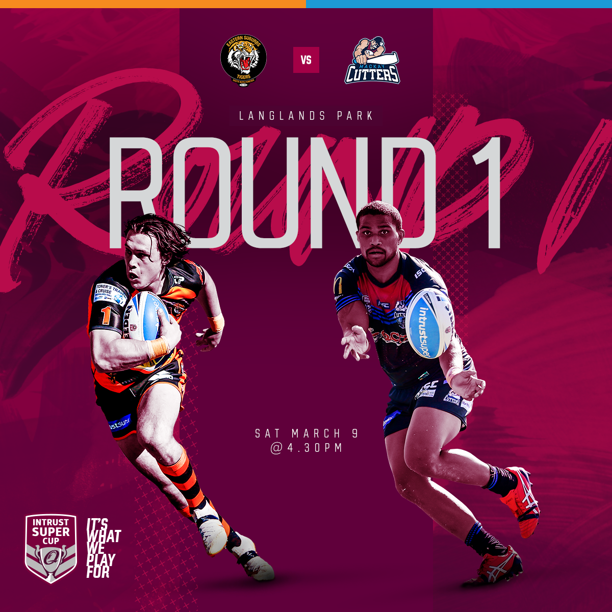 Intrust Super Cup Round 1 Season 2019 Easts Tigers v Mackay Cutters from Langlands Park, Kick off at 4.30pm