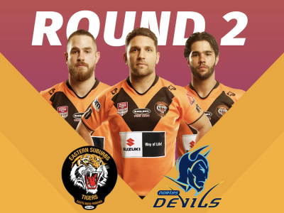 Round 2 Game Day Tigers versus Norths Devils Poster
