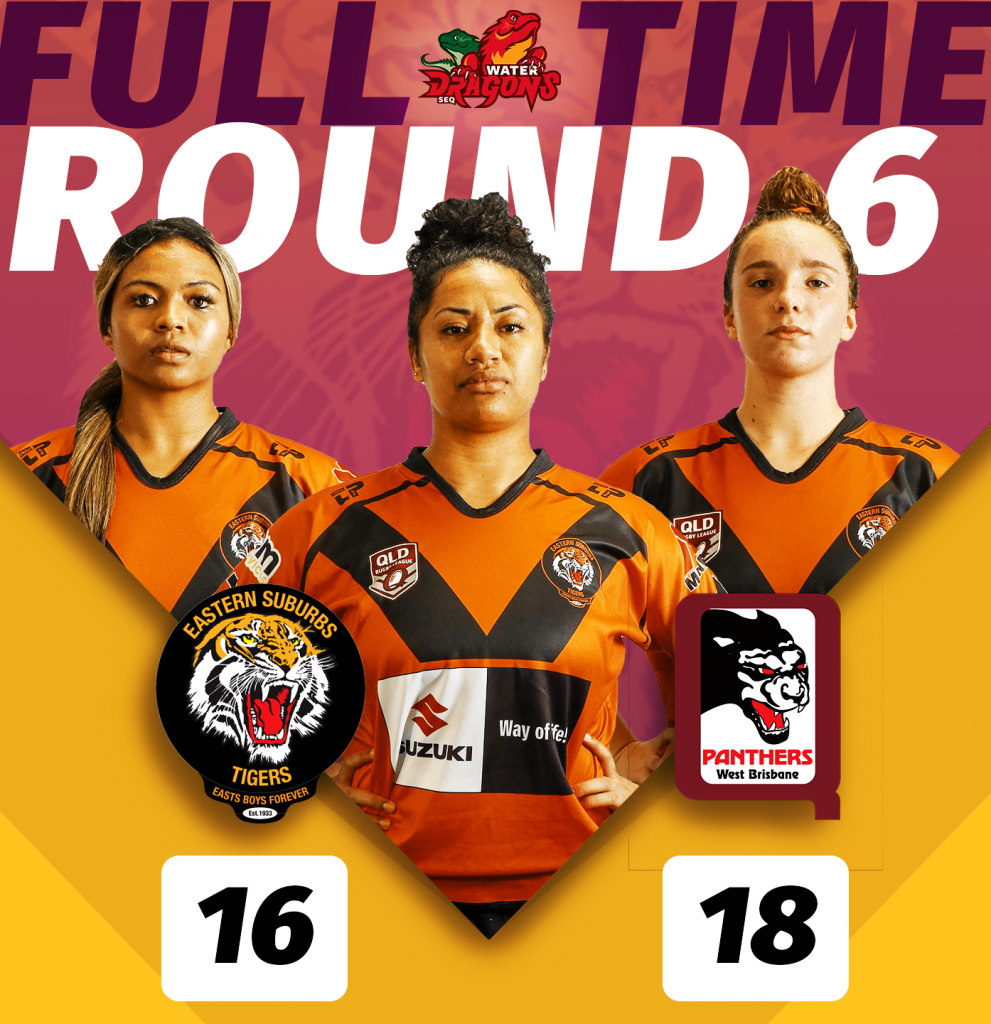 SEQ Womens Division 1 full time score round 6 Suzuki Easts Tigers v West Brisbane Panthers