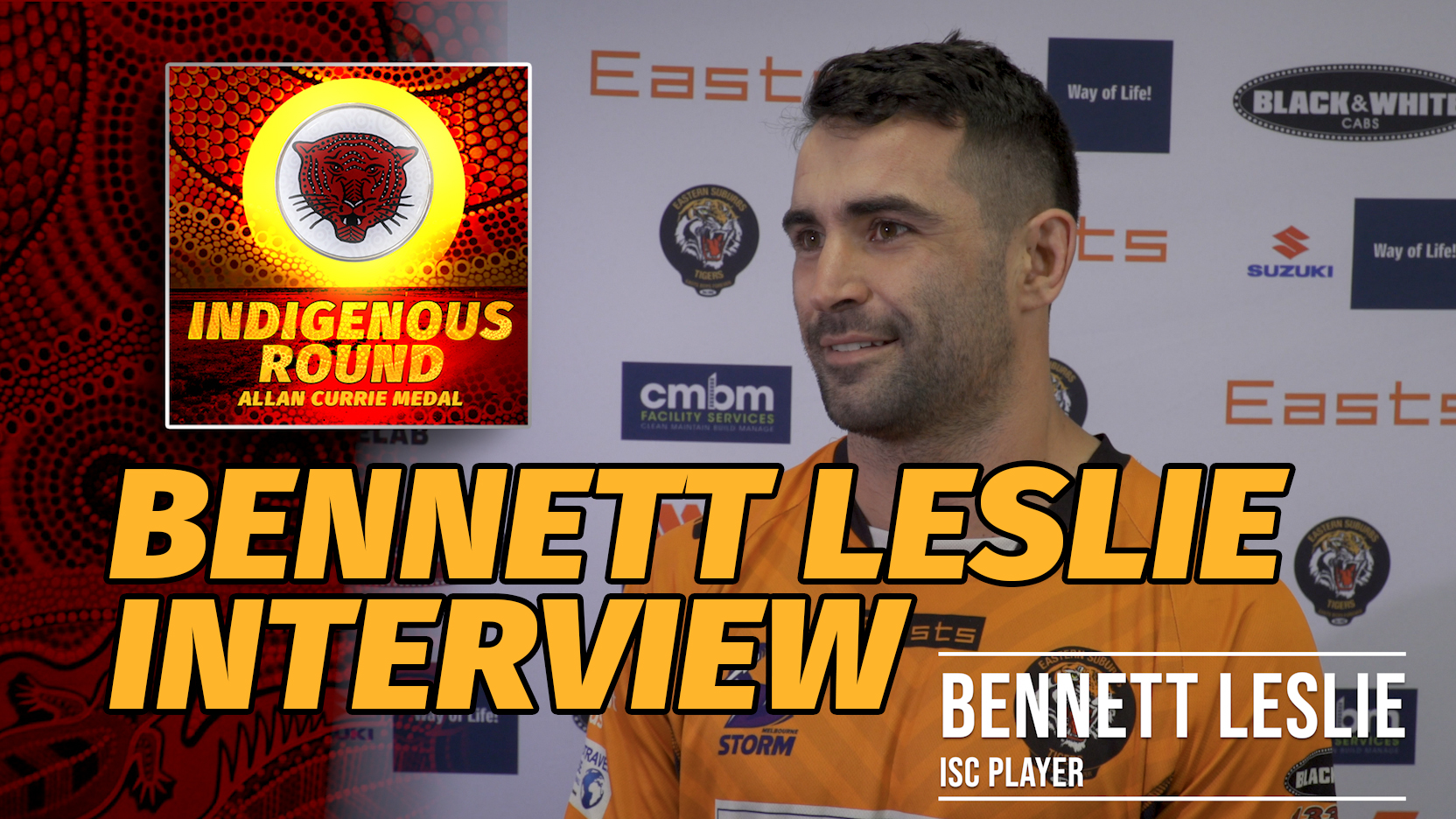 Bennett Leslie interview Intrust Super Cup and Indigenous Player, Bennett Leslie, explains what Indigenous Round means to him. #GoTheTigers #Season2019 #OrangeandGold #EGF #ProudIndigenous #IndigenousRound