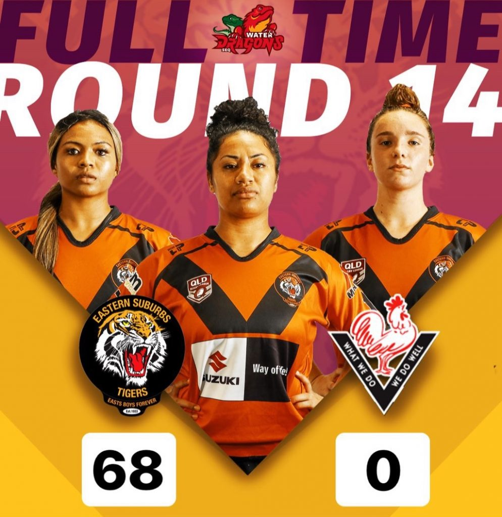 Rd 14 Womens Snr Div 1 Full Time Score Easts Tigers 68 Toowoomba Valleys 0