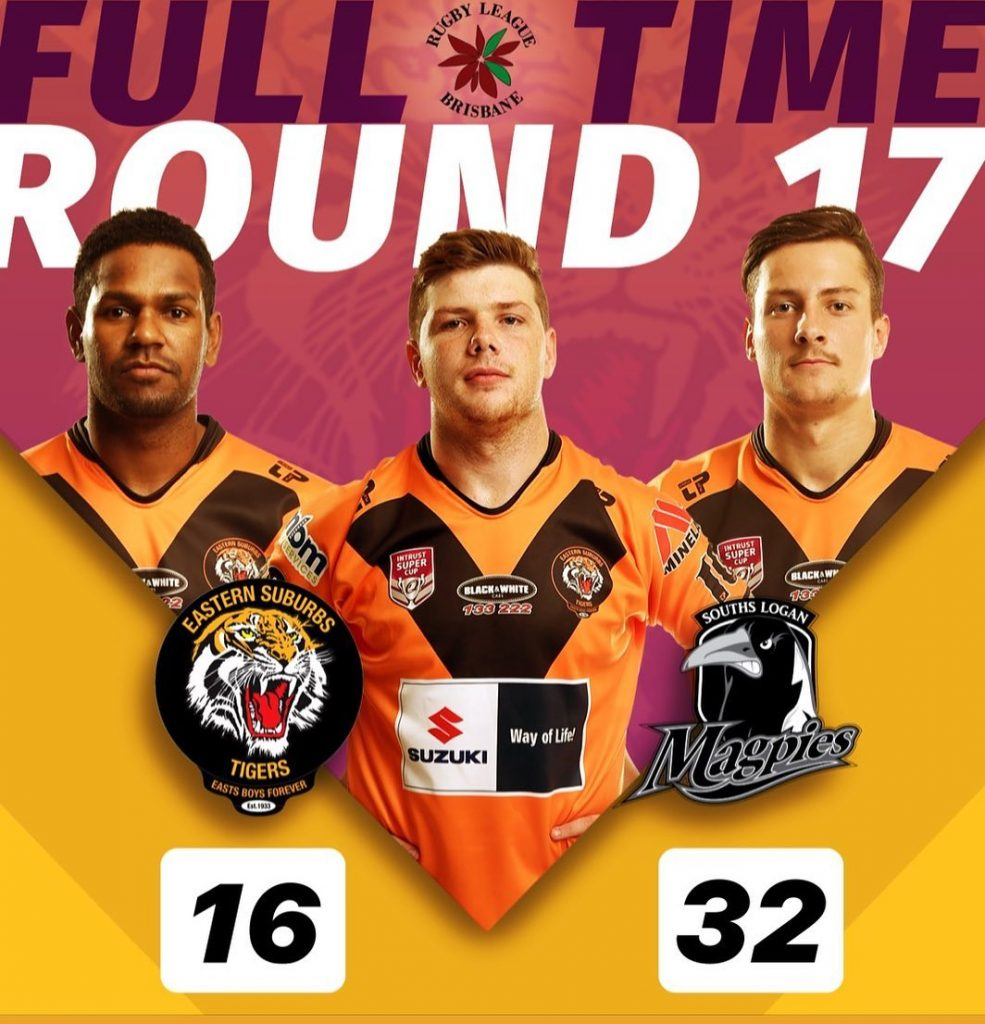 BRL A Grade Full Time Rd 17 Easts Tigers 16 lose to Souths Logan Magpies 32
