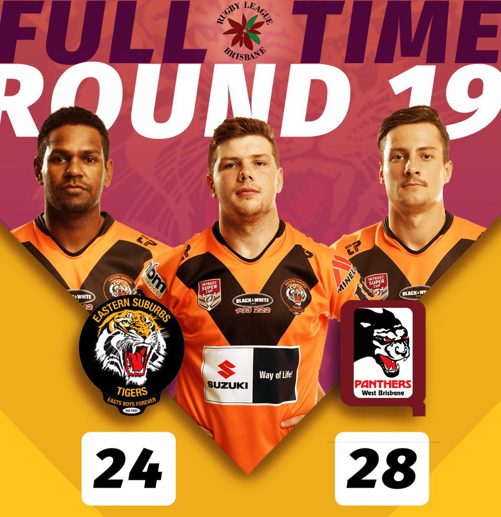 BRL Easts Tigers lost to Wests Panthers at Kev McKell Oval in Arana Hills, game was held on Saturday 24 August, kick off was 4.30pm, Panthers 28 def Tigers 24;