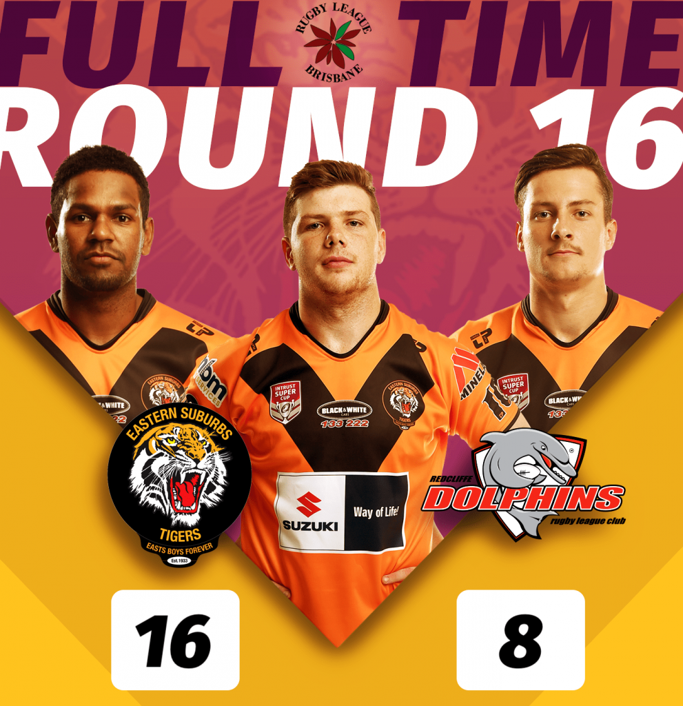 [BRL A GRADE RESULT] Round 16 finished up the BRL A GRADE Easts Tigers have come out and blistered their way to a brilliant win over the Redcliffe Dolphins, at Langlands Park, Full time score Tigers 16 win over Dolphins 8. Half time score was Tigers 6 - Dolphins 8. #ORANGEandBLACK #GoTheTigers #Season2019 #EBF #EGF #wynnummanly #wynnumseagulls #wynnum #manly #bayside #redcliffe #peninsula #redcliffedolphins #dolphins #rugbyleague #rugby #footy #QLDER