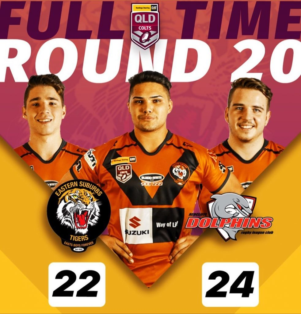 Hastings Deering Colts Rd20 Easts Tigers 22 lose to Redcliffe Dolphins 24
