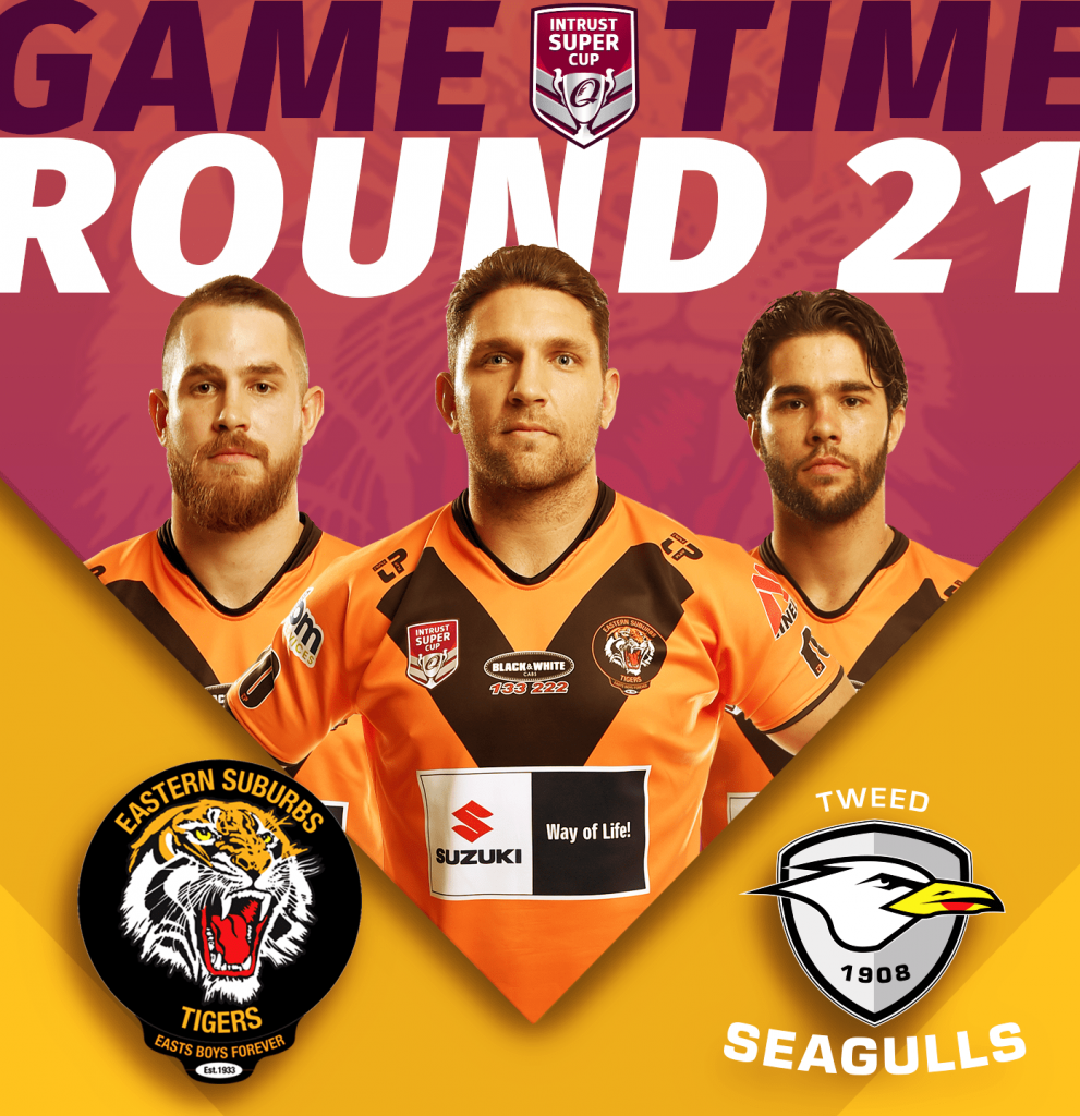 ISC Rd 21 of Suzuki Easts Tigers taking on Tweed Heads Seagulls at Piggabeen Sports Complex, kick off 2pm, Sunday 18th of August;