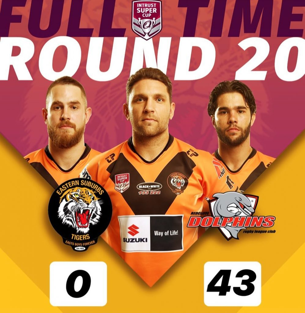 ISC Rd 20 Full Time score Suzuki Easts Tigers 0 lose to Redcliffe Dolphins 43; results from August 10th 2019
