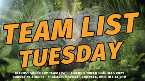 Team List Tuesday Rd 21 Intrust Super Cup