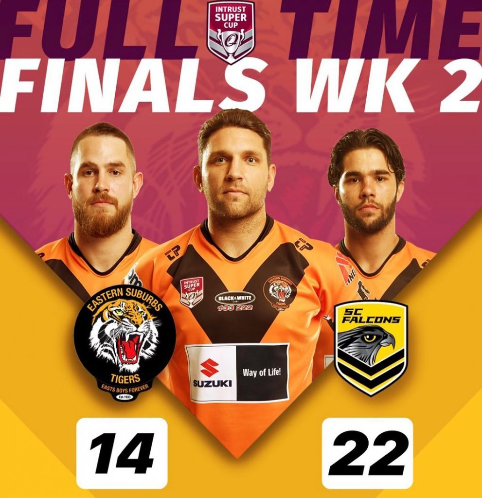 ISC Finals week 2, Sunshine Coast Falcons 22, def. Suzuki Easts Tigers 14.