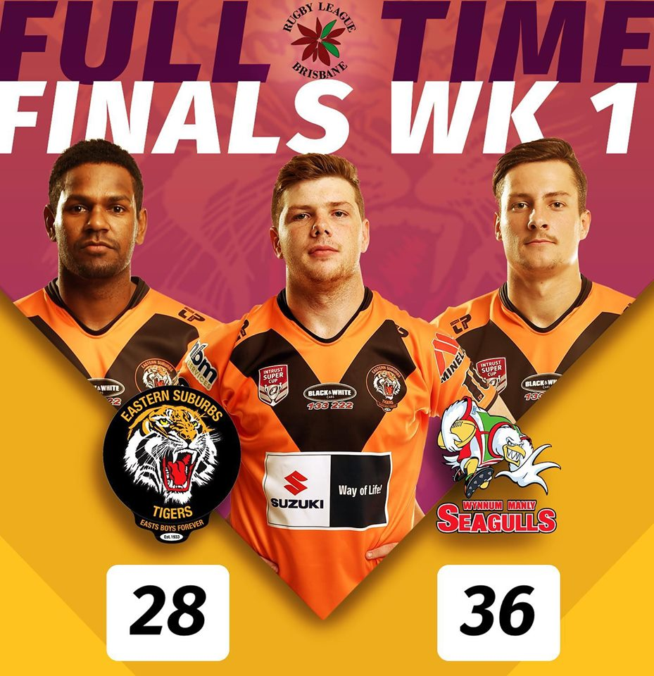 Finals Week 1 BRL Easts Tigers V Wynnum Manly Seagulls at Langlands Park, Coorparoo, game was on Saturday 7 September, 3pm kick off Tigers lose to Wynnum Seagulls 36