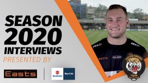 Easts Tigers Player Bill Cullen lines up for his final interview of 2019, talking to TigerTV