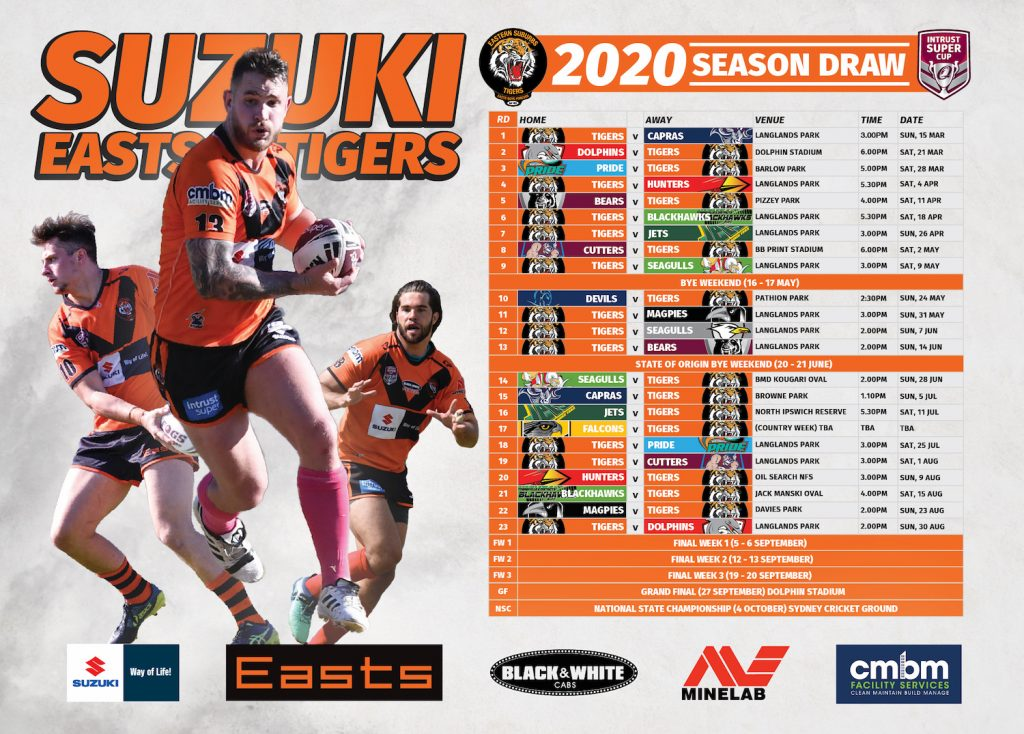 Easts Tigers Draw Poster 2020