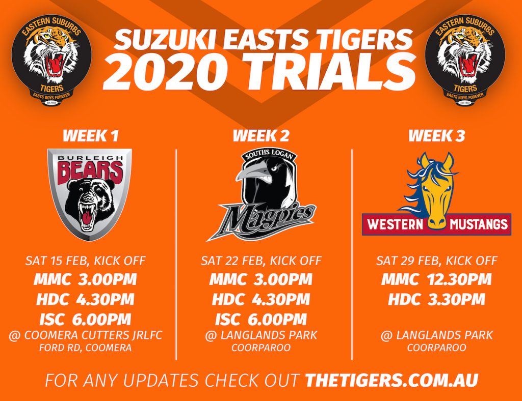 [SUZUKI EASTS TIGERS 2020 TRIALS] Suzuki Easts Tigers is unveiling the pre-season Trial games for 2020. With this announcement, the dates and times of the trials are for the following sides; Auswide Bank Mal Meninga Cup (U18s), Hastings Deering Colts (U20s), and Intrust Super Cup. Burleigh Bears week 1, Sat Feb 15, from 3pm Souths Logan Magpies week 2, Sat Feb 22, from 3pm The trial dates for the Women's state comp team are soon to be announced. Anyone with a 2020 Season Pass, entry to the Langlands Park games are included; Please note: times are subject to change, please refer to our website and social media pages for any updates. #GoTheTigers #Season2020 #EBF #EGF #isc #intrustsupercup #burleigh #bears #burleighbears #souths #logan #southslogan #maggies #magpies #rugbyleague #rugby #footy #QLDER #preseason #trials